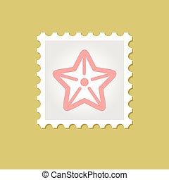 francobollo, vettore, starfishe
