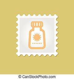 francobollo, vettore, sunscreen