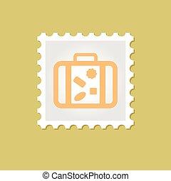 francobollo, vettore, valigia