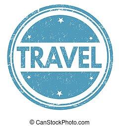 francobollo, viaggiare, o, segno