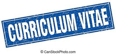 francobollo, vitae, curriculum, quadrato