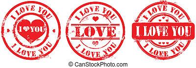 francobollo, you., postale, vettore, amore