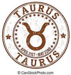 francobollo, zodiaco, grunge, toro