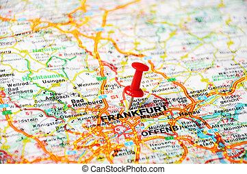 francoforte, germania, mappa