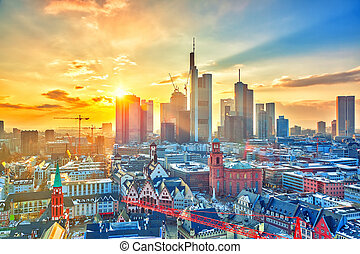 francoforte, germania, tramonto