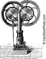 Francois engine, the first type, two inclined rods, vintage engraved illustration. Industrial encyclopedia E.-O. Lami - 1875.