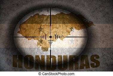 francotirador, alcance, apuntado, en, el, vendimia, bandera honduras, y, mapa