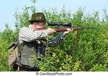 francotirador, cazador, rifle