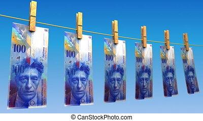 francs suisses, sécher, (loop)