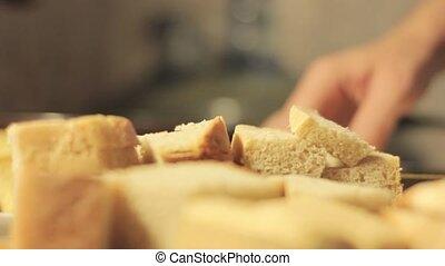 francuska bułka przypiekana, gotowanie, w, patelnia, bread, w, przedimek określony przed rzeczownikami, jajko