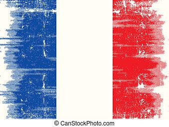 francuski, grunge, bandera