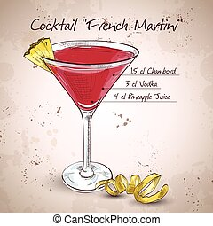 francuski, martini, cocktail