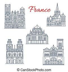 francuski, podróż, punkt orientacyjny, ikona, od, sławny,...