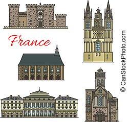 francuski, podróż, punkt orientacyjny, ikony, z, turysta,...