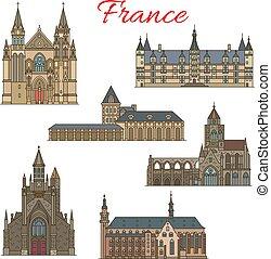 francuski, podróż, punkty orientacyjny, i, średniowieczny,...
