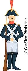 francuski, wojska, styl, dziad, broń, uzbrojony, ilustracja...