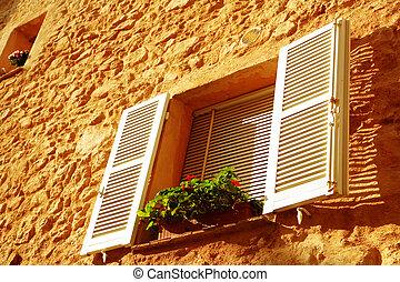 francuskie okno, qith, biały, żaluzje