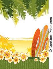 &, frangipani, イラスト, トロピカル, ベクトル, 花, サーフボード