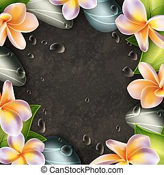Frangipani flowers and zen stones spa frame template