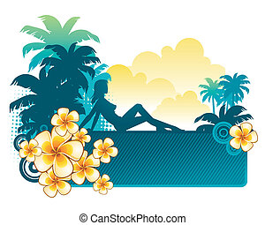 Frangipani flowers & silhouette of a girl on a tropical landscape - vector illustration