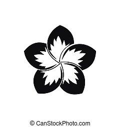 frangipani, simple, icono, estilo, flor