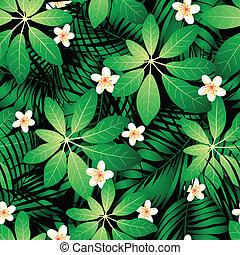frangipanier, feuilles, seamless, exotique, paume, modèle