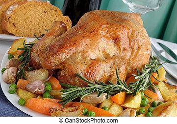 frango assado, com, legumes