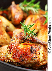 frango assado, com, vegetal