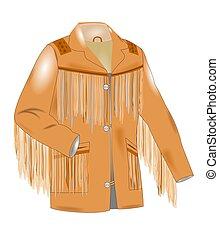franja, casaco, de, sixties