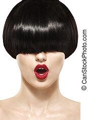 franja, penteado, beleza, menina, com, cabelo curto