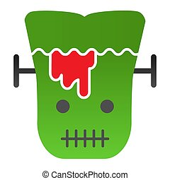 Frank man flat icon. Scary monster with sliced head. Halloween party vector design concept, gradient style pictogram on white background.