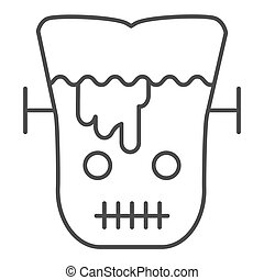 Frank man thin line icon. Scary monster with sliced head. Halloween party vector design concept, outline style pictogram on white background.