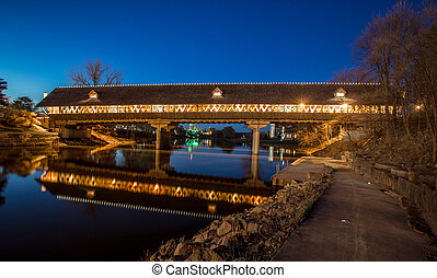 Frankenmuth Covered Bridge At Night