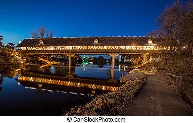 Frankenmuth Covered Bridge At Night