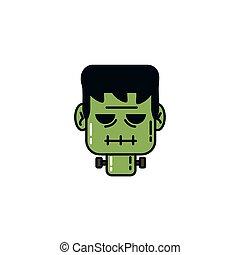frankenstein face halloween flat character