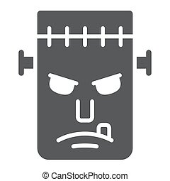 Frankenstein glyph icon, monster and halloween, zombie sign, vector graphics, a solid pattern on a white background, eps 10.