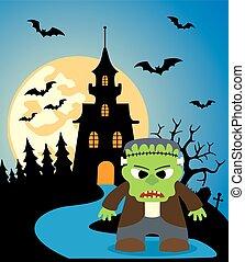 frankenstein, halloween, bakgrund