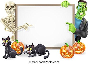 frankenstein, halloween, señal, esqueleto