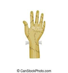 Frankenstein hand on white background. Vector illustration.