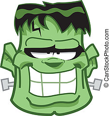 Frankenstein Head - Classic Frankenstein Monster Cartoon ...
