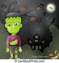 frankenstein, hemsökt av spöken, halloween, kort