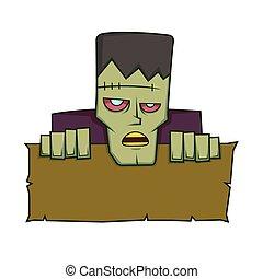Frankenstein holding a blank sign