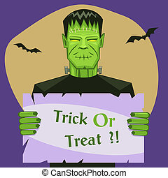 Frankenstein Holding Banner - Cartoon vector illustration of...