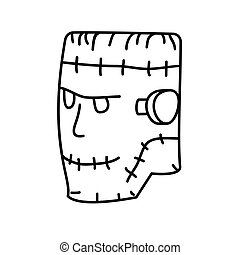 Frankenstein Icon. Doodle Hand Drawn or Black Outline Icon Style