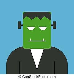 Frankenstein, illustration, vector on white background.