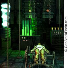 Frankenstein Laboratory - Frankenstein monster strapped to...