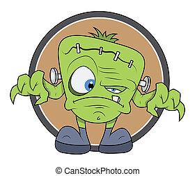 Frankenstein Monster Cartoon Vector - Frankenstein monster...