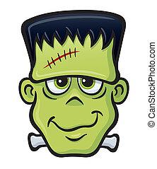 Frankenstein Monster Face - Cartoon illustration of a...