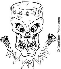 Frankenstein style skull vector illustration. Fully editable