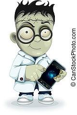 frankenstein, teléfono, profesor